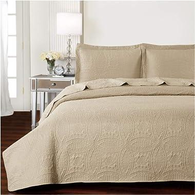 Mellanni Bedspread Coverlet Set Beige Comforter Oversized 3-Piece Quilt Set (Full/Queen, Beige)