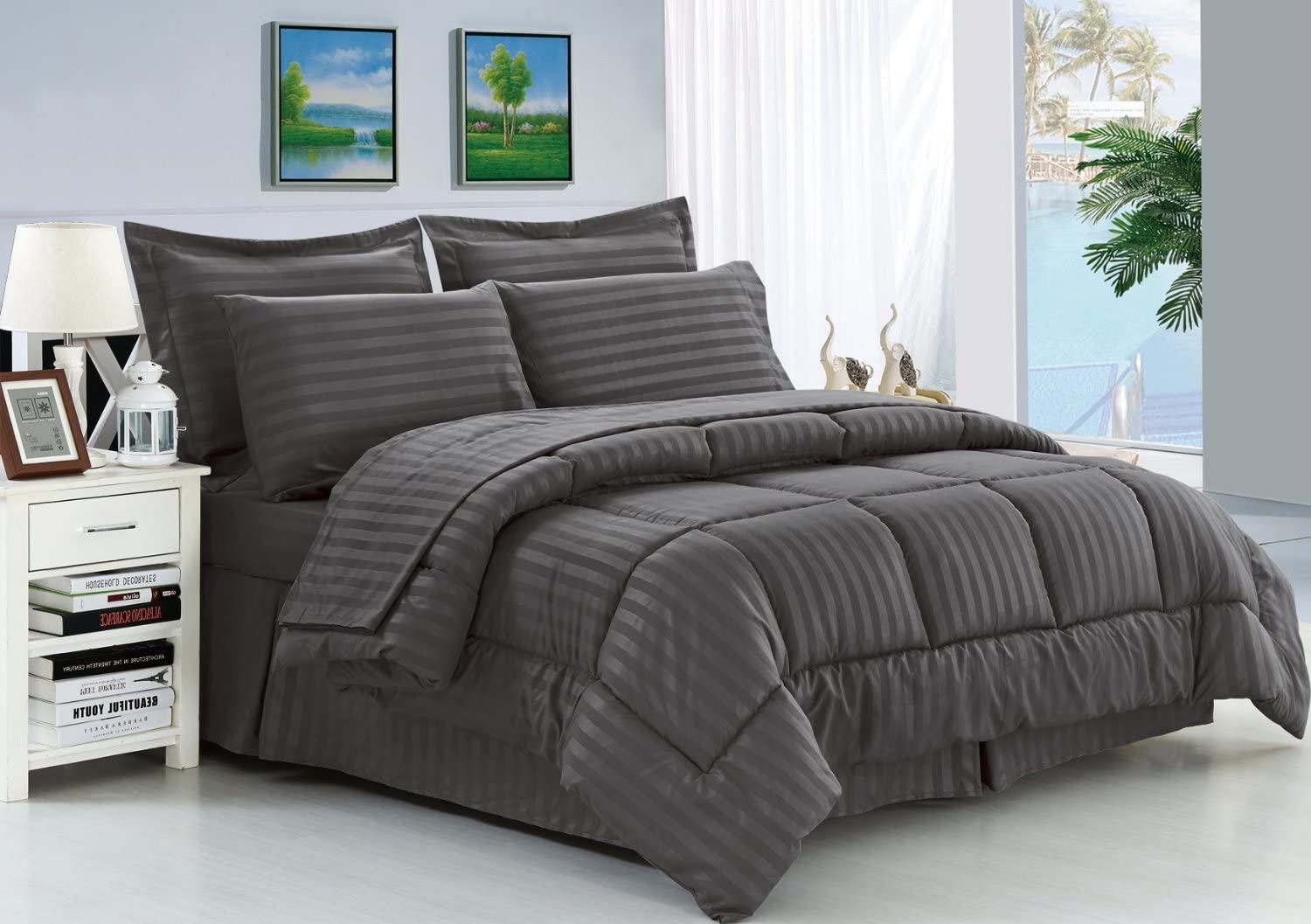 Elegant Comfort Wrinkle Resistant - Silky Soft Dobby Stripe Bed-in-a-Bag 8-Piece Comforter Set -HypoAllergenic - King Grey: Home & Kitchen