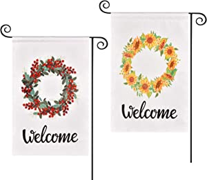 Swiftion 2 Pack Spring Garden Flags 12x18 Inch Seasonal Welcome Burlap Yard Flags, Vertical Double Sided Design Garden Flag for Outside Farmhouse Garden Decoration