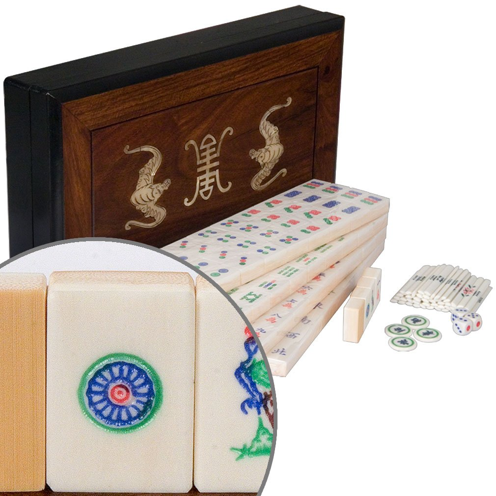Chinese Mahjong (Mah Jongg, Mah-Jongg, Mahjongg) Full Set in Rosewood Box by Yellow Mountain Imports