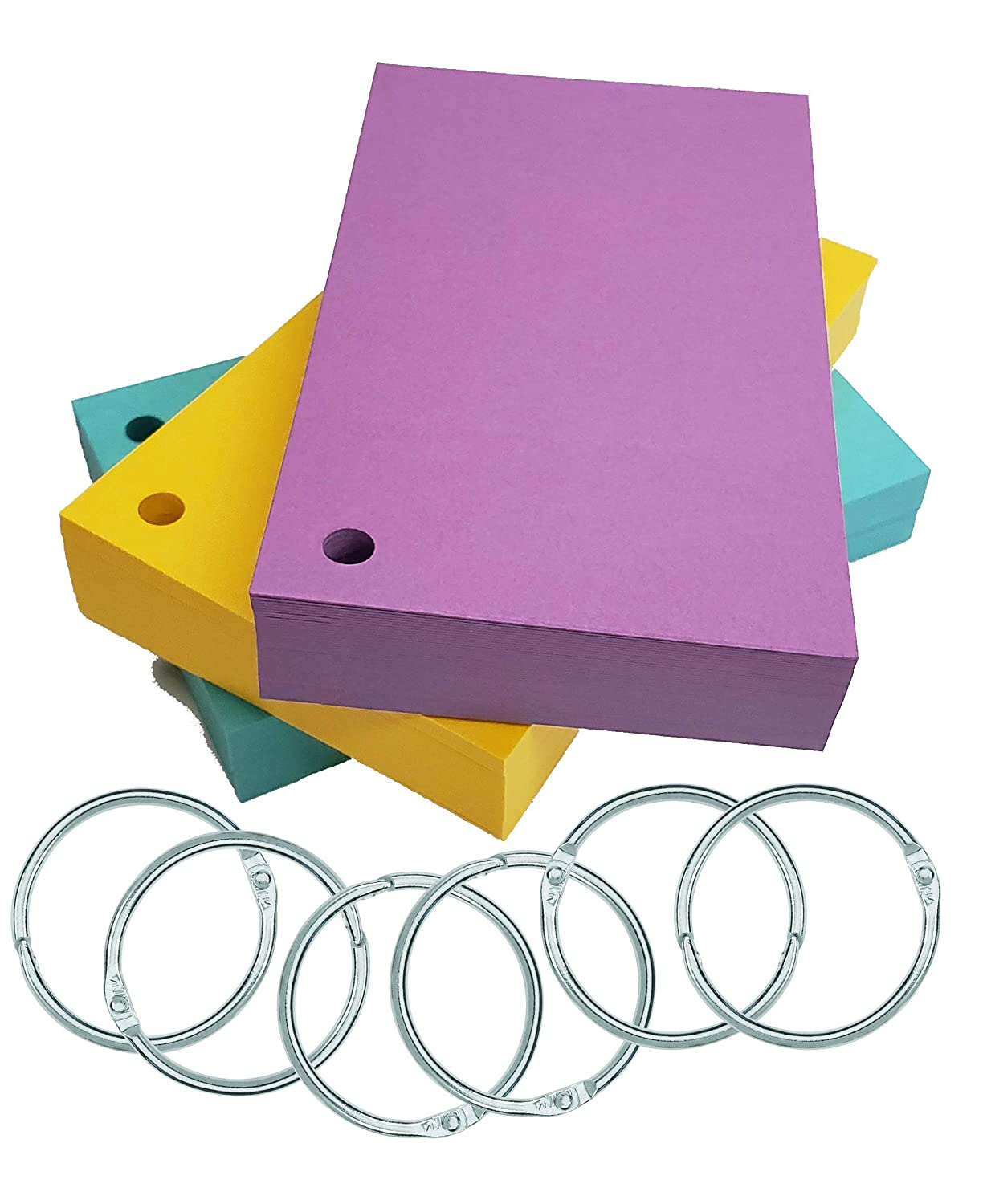 3 X 5 Inch Cards - Single Hole Punched With 6 Rings Packaged In 50s Debra Dale Designs 50 Each Of Three Astrobright Colors Premium Smooth Extra Heavy 100# Card Stock Blue, Yellow, Purple