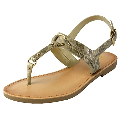 646ae9dd1 Image Unavailable. Image not available for. Color  Soda Kalpa Women s T-Strap  Thong Sandals Ankle Strap Slingback Gladiator Flat Shoes ...