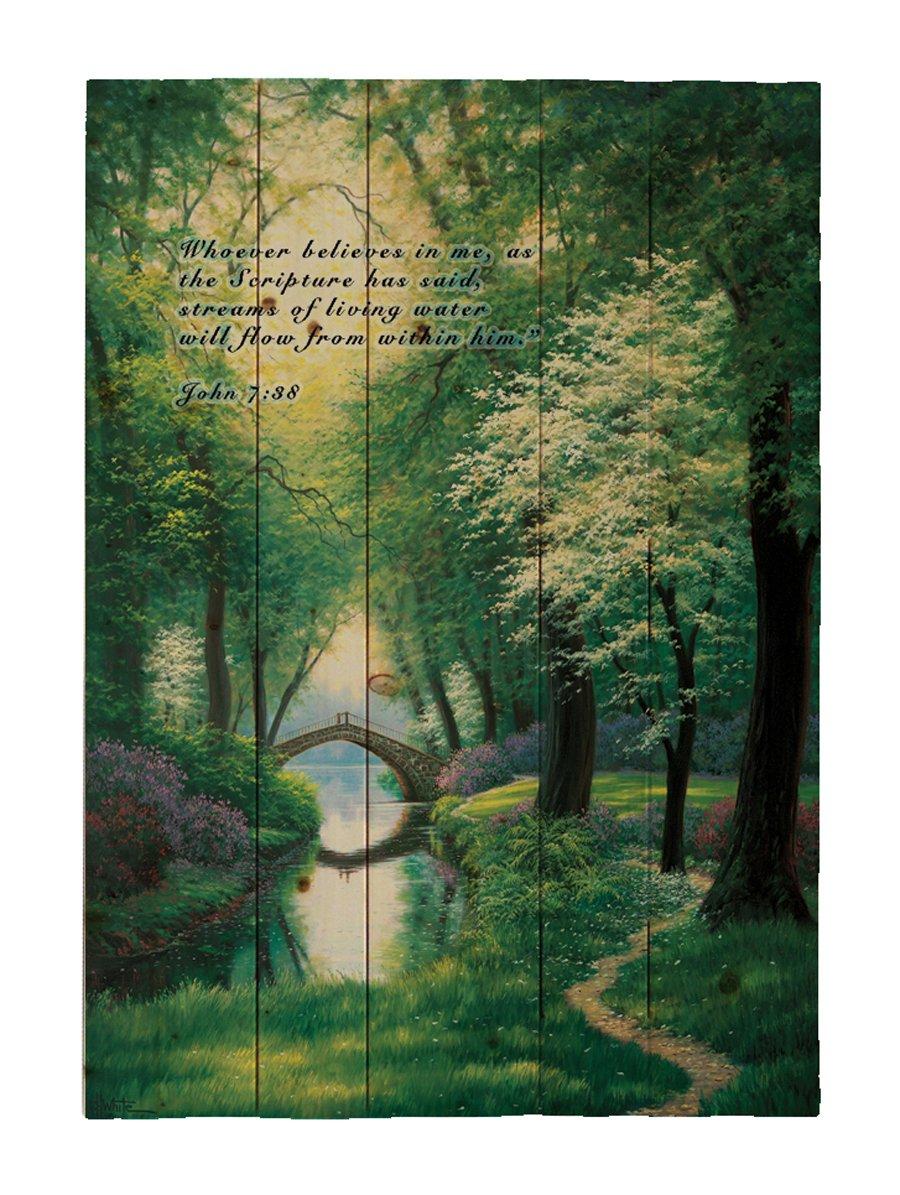 Hadley House Home Décor Wood Pallet Beside Still Waters - Featuring Verse John 7:38 Wall Art 16x20