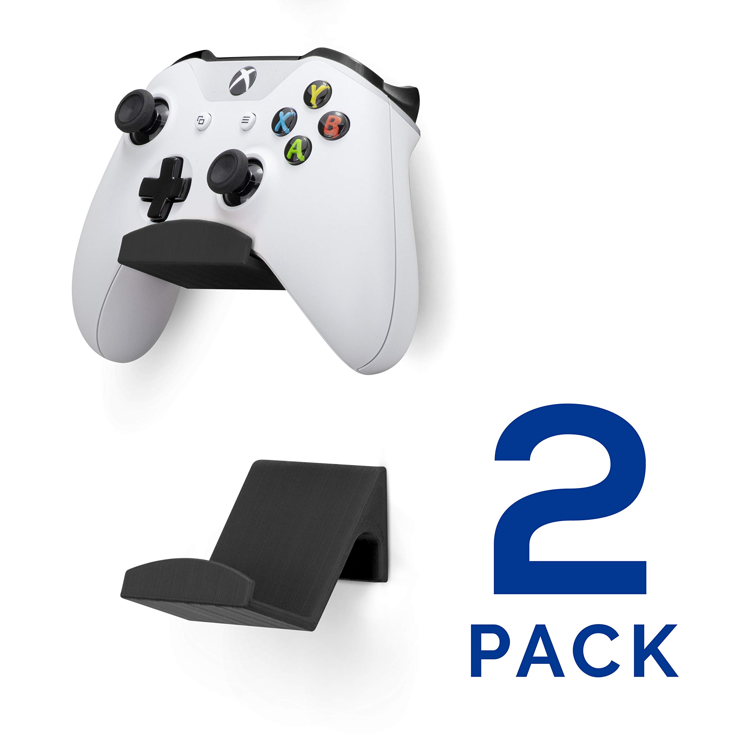 Game Controller Wall Mount Stand Holder (2 Pack) for XBOX ONE SWITCH PS4 STEAM PC NINTENDO, Universal Game Controller Accessories - No screws, Stick on, Black By Brainwavz by BRAINWAVZ