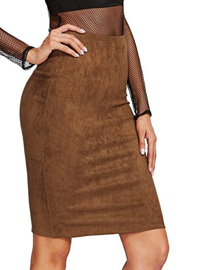 022ae510cb29 MAKEMECHIC Women s Casual Faux Suede Button Front A Line Mini Skirt Brown XS