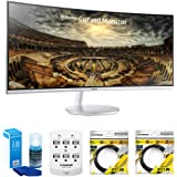 """Samsung 34"""" Grey Curved LED 21:9 3440x1440 Computer Monitor – (LC34F791WQNXZA) w/ Accessory Bundle Includes, Universal Screen Cleaner for LED TVs, 6 Outlet Wall Tap w/ 2 USB Ports, 2x 6ft HDMI Cable"""