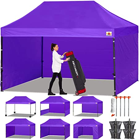 Amazon Com Abccanopy Canopy Tent Popup Canopy 10x15 Pop Up Canopies Commercial Tents Market Stall With 6 Removable Sidewalls And Roller Bag Bonus 4 Weight Bags And 10ft Half Wall Purple