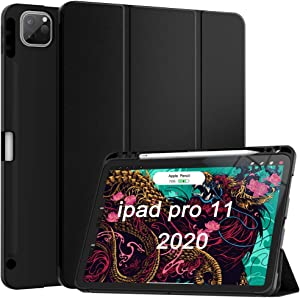 Soke Case for New iPad Pro 11 Inch 2020 & 2018 with Pencil Holder - Lightweight Trifold Stand Smart Soft Cover [Supports Apple Pencil 2 Wireless Charging + Auto Wake/Sleep] (Black)