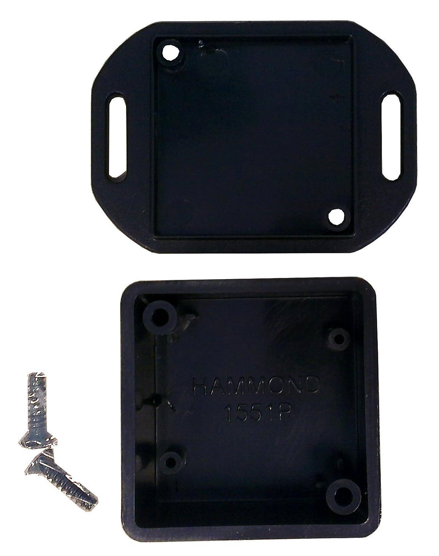 Hammond 1551PFLBK Black ABS Plastic Flanged Lid Project Box -- Inches (1.58' x 1.58' x 0.79') mm (40mm x 40mm x 20mm) BPSEN84201-1551PFLBK