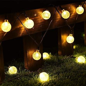 Cmyk® - Guirnalda de luz solar con 30 luces LED con cubiertas de bolas de cristal,