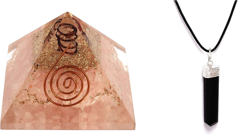 Energy Generator - Pirámide de cuarzo rosa y turmalina negra con colgante de 3 caras, para protección y curación de Emf, meditación con colgante de Nacklace