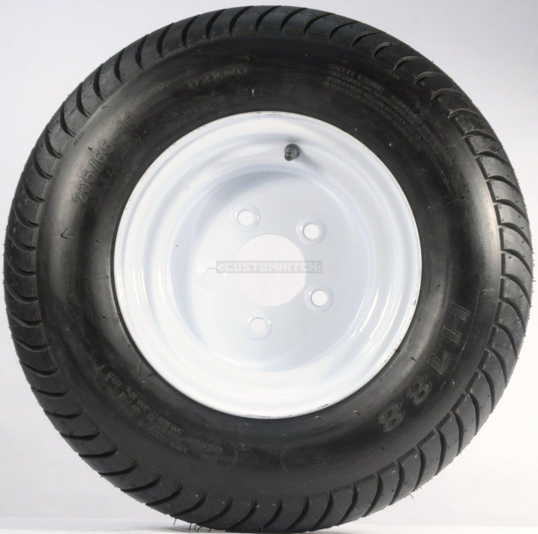 eCustomRim Trailer Tire + Rim 20.5 X 8 X 10 205/65-10 20.5X8.0-10 20.5/800-10 5 Lug White