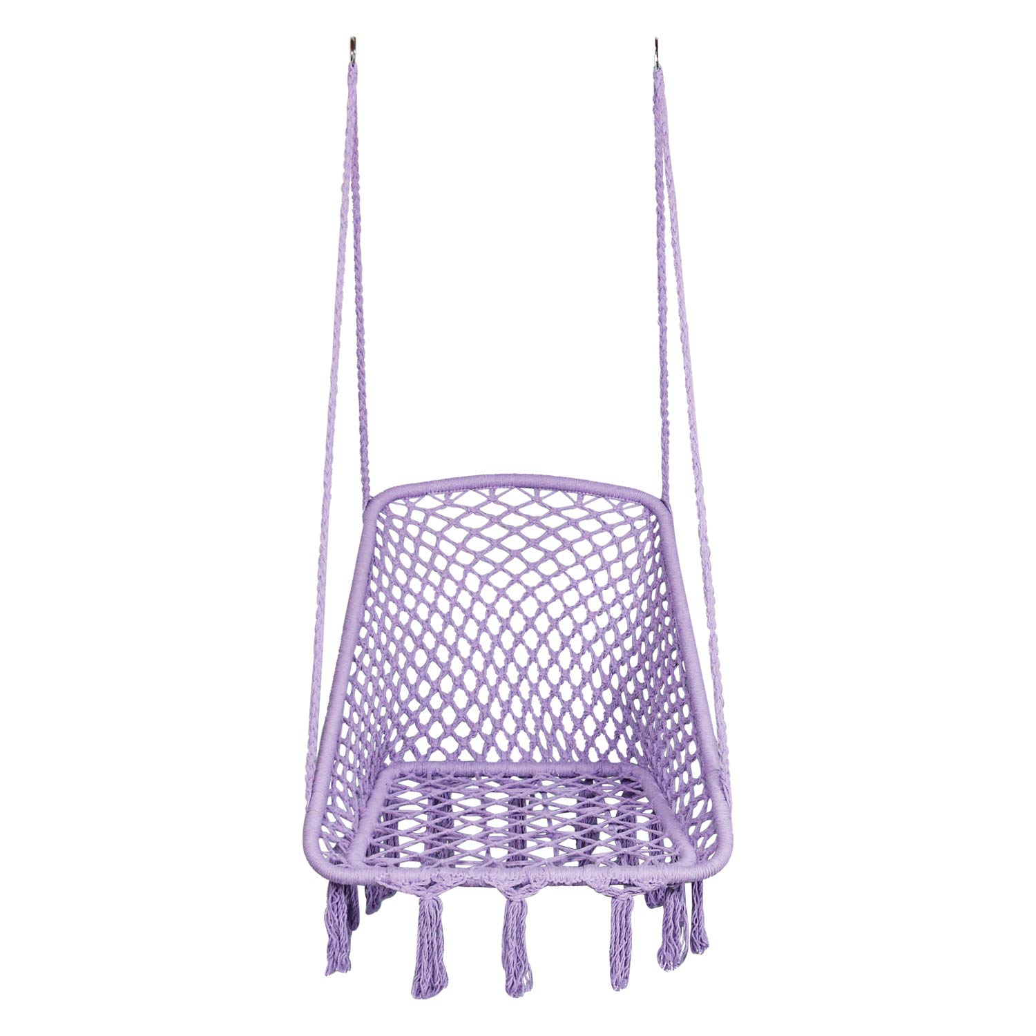 LAZZO Hammock Chair Hanging Knitted Mesh Cotton Rope Macrame Swing, 260 Pounds Capacity, 28 22.8 Seat Width,for Bedroom, Outdoors, Garden, Patio, Yard. Child, Girl, Adult Purple