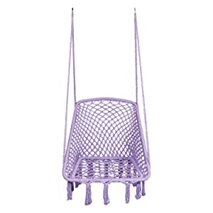 "LAZZO Hammock Chair Hanging Knitted Mesh Cotton Rope Macrame Swing, 260 Pounds Capacity, 28"" 22.8"" Seat Width,for Bedroom, Outdoors, Garden, Patio, Yard. Child, Girl, Adult.(Purple)"