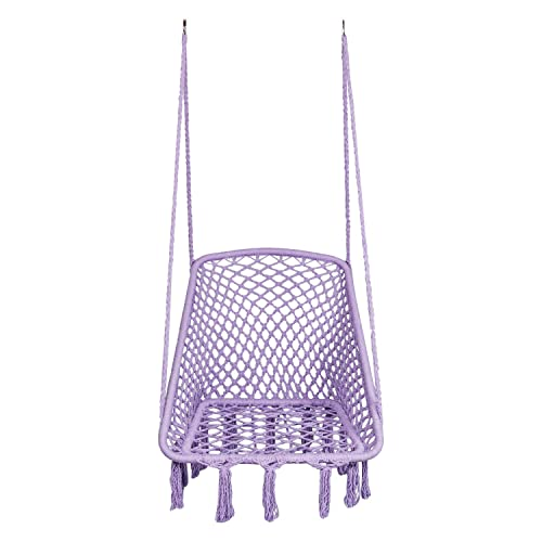 LAZZO Square Hammock Chair Hanging Knitted Mesh Cotton Rope Macrame Swing, 260 Pounds Capacity, 28 22.8 Seat Width,for Bedroom, Outdoors, Garden, Patio, Yard. Child, Girl, Adult Purple