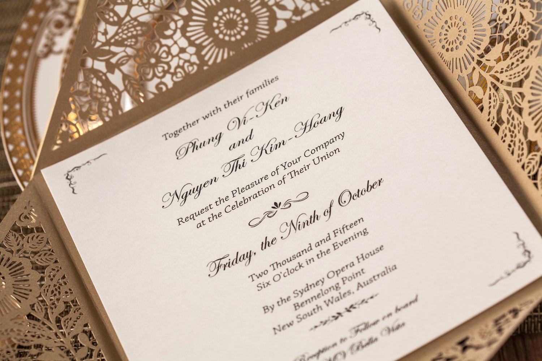 Amazon.com: Wishmade 50x Gold Square Laser Cut Wedding Invitations ...