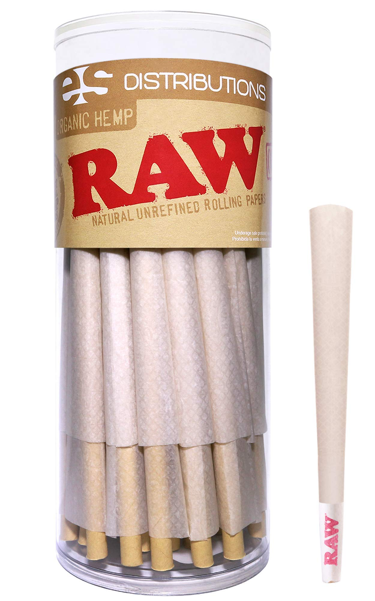 RAW Cones Organic King Size | 50 Pack | Pure Hemp Pre Rolled Rolling Paper with Tips & Packing Sticks Included by RAW, ESD