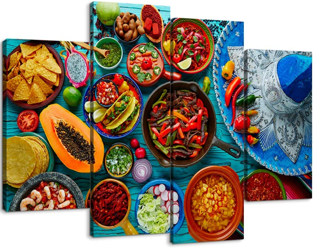 4 Piece Kitchen Painting Food Canvas Wall Art Various of Mexican Food on Rustic Wooden Table Wall Decor Framed Ready to Hang for Kitchen Decor (56''W x 40''H)