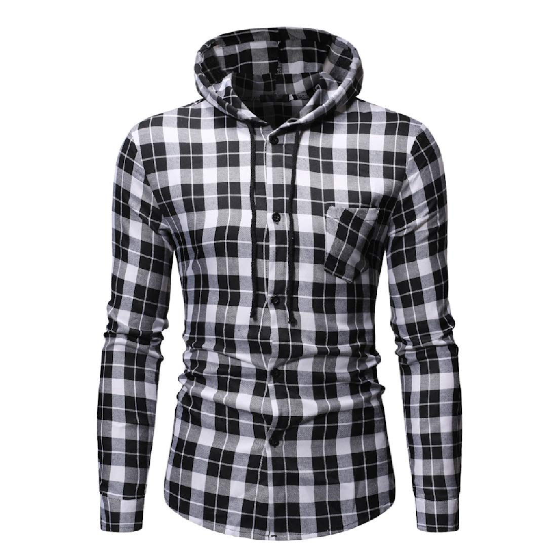 YYG Mens Long Sleeve Button Down Basic Hoodie Drawstring Plaid Dress Shirts