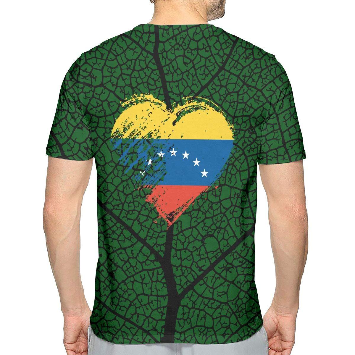 Grungy I Love Venezuela Heart Flag Mens Fashion Short Sleeve Tee Shirt