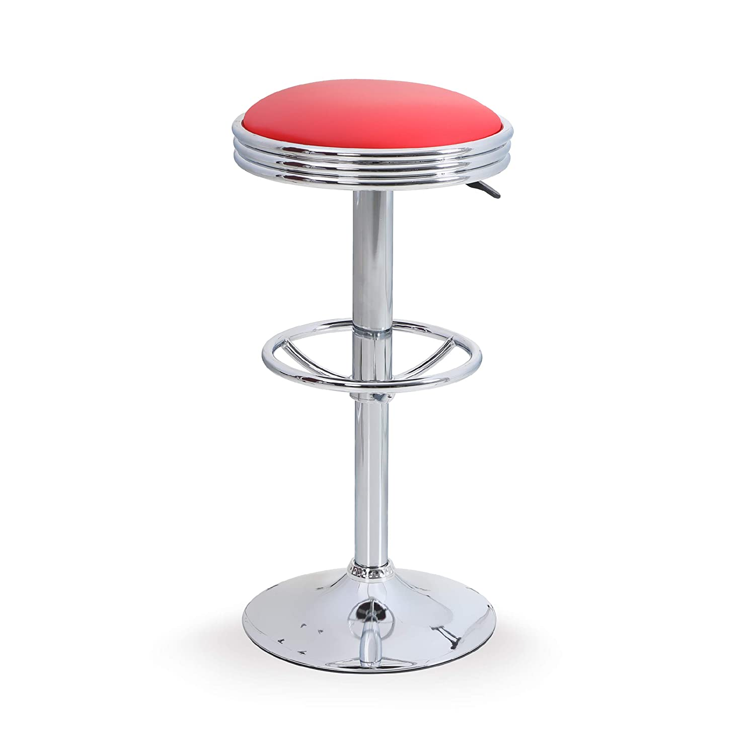Khaki, 1 pc ALPHAHOME Swivel Bar Stool Counter Height Round PU Leather Adjustable Chair Pub Stool with Chrome Footrest