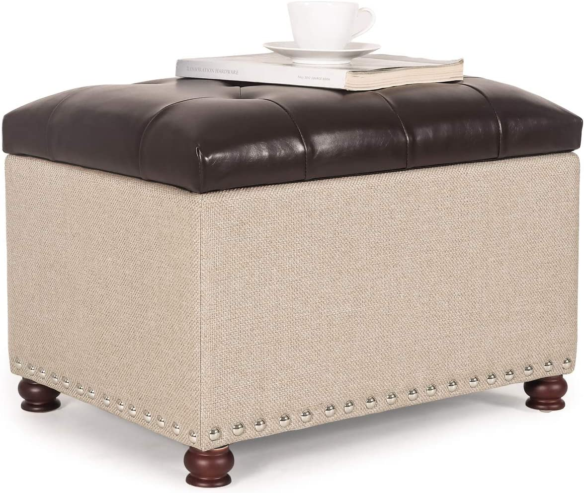 Decent Home PU Leather Storage Ottoman Bench Foot Rest Stool with Nailhead Trim (Brown-Beige)