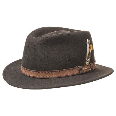 bd514693 Stetson Merced VitaFelt Traveller Hat felt leather band: Amazon.co.uk:  Clothing
