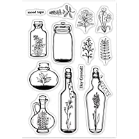 GLOBLELAND Plant Wishing Bottle Clear Stamps Silicone Stamp Cards for Card Making Decoration and DIY Scrapbooking