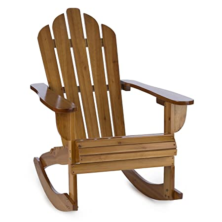 Blumfeldt Rushmore Rocking Chair Garden Chair Adirondack Style Fir Wood  (71x95x105cm, Foldable, High
