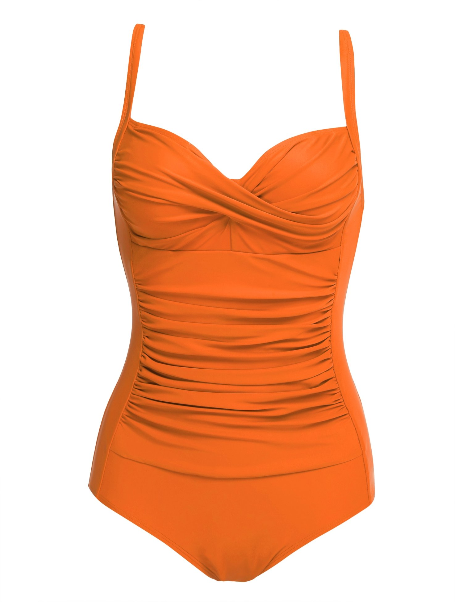 94c7b65d44 Ekouaer 50s Retro Ruched Mansfield Vintage One Piece Pin up Swimwear  Swimsuits,Orange,X-Small