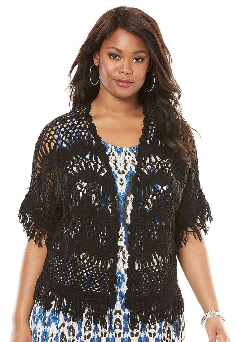 0178d117d7422 Roamans Women s Plus Size Fringe Open-Front Cardigan at Amazon Women s  Clothing store