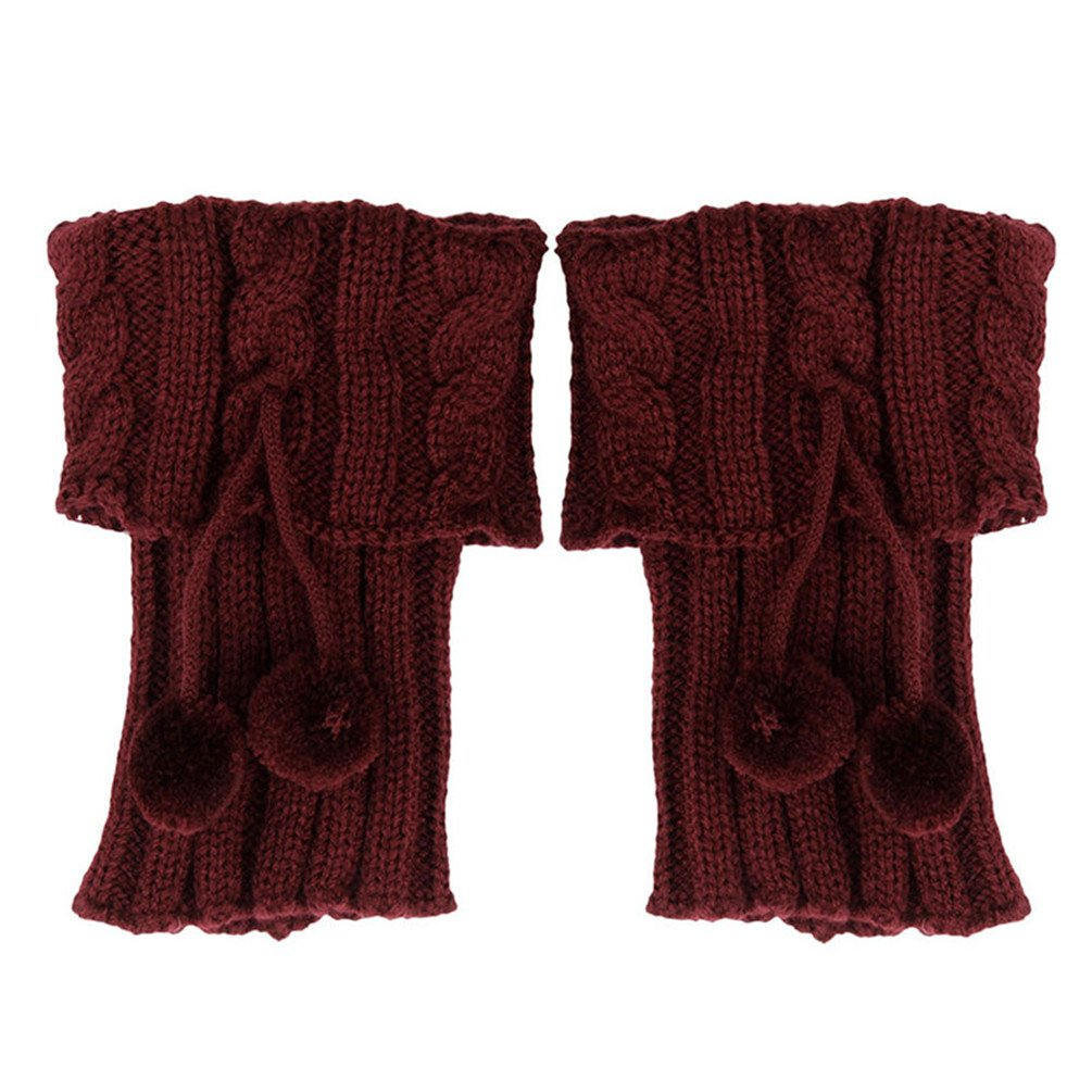Ponce 2 Pair Women Winter Knitted Leg Warmer Crochet Boot Covers With Ball Female Thick Boot Cuffs Boot Socks Gaiters