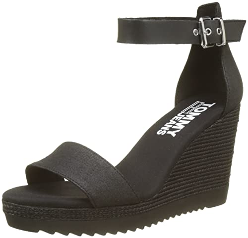 Tommy Hilfiger Sporty Denim Wedge Sandal, Espadrilles Femme, (Black 990), 37 EU