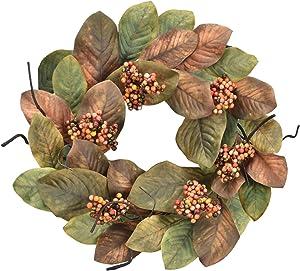 Cloris Art Fall Door Wreaths Magnolia Leaves/Berry - Artificial 20-22 Inch Green Thanksgiving Wreath for Farmhouse Home Window Wall Decor