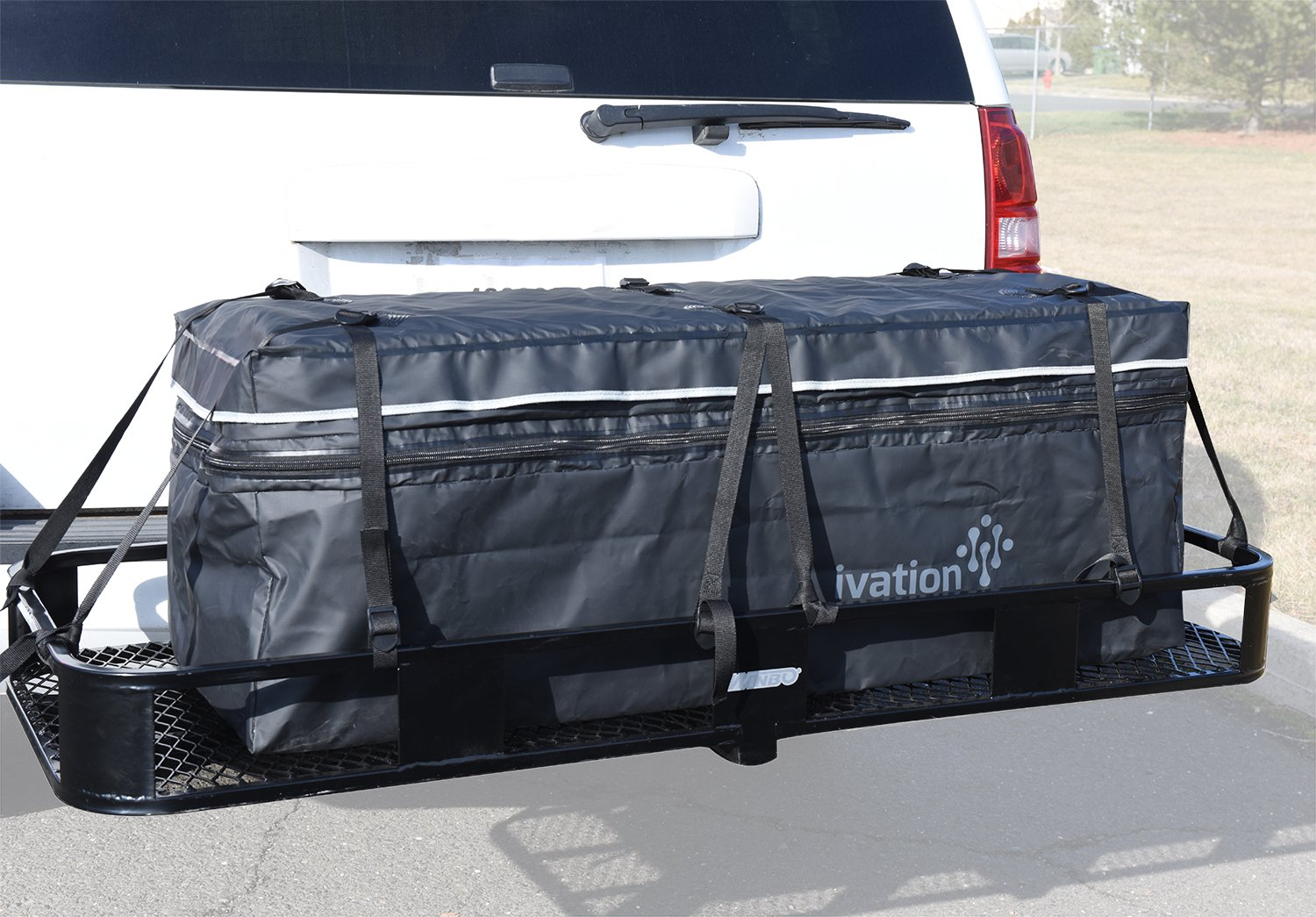 Hitch bag - 100 % Waterproof Expandable Hitch Tray Cargo carrier bag 48'' x 19'' x 22'' (11 Cu Ft) by Ivation
