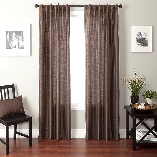 Softline Home Fashions Bergamo Faux Silk Back Tab Window Panel Curtain Sheer Drape, 55 by 96 , Chocolate