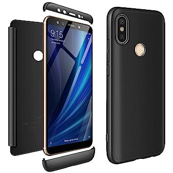 AROYI Funda Xiaomi Mi A2, Carcasa Xiaomi Mi A2 360 Grado 3 in 1 Slim Fit Rigida Ligera Ultra Fina Híbrida Cover para Xiaomi Mi A2/ Mi 6X - Negro