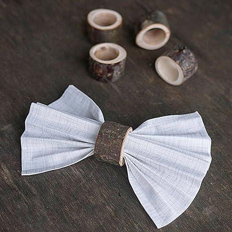 Anillos de servilleta artesanales de madera rústica servilletas juego de 2 para decoración de cena