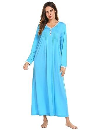 dc5df4f50b Ekouaer Womens Cotton Knit Long Sleeve Nightgown for Women