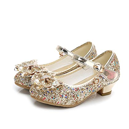 9662ef065b28f5 Bon Soir Kids Girls Mary Jane Wedding Party Shoes Glitter Bridesmaids Low  Heels Princess Dress Shoes(Gold-35/3 M US Little Kid)
