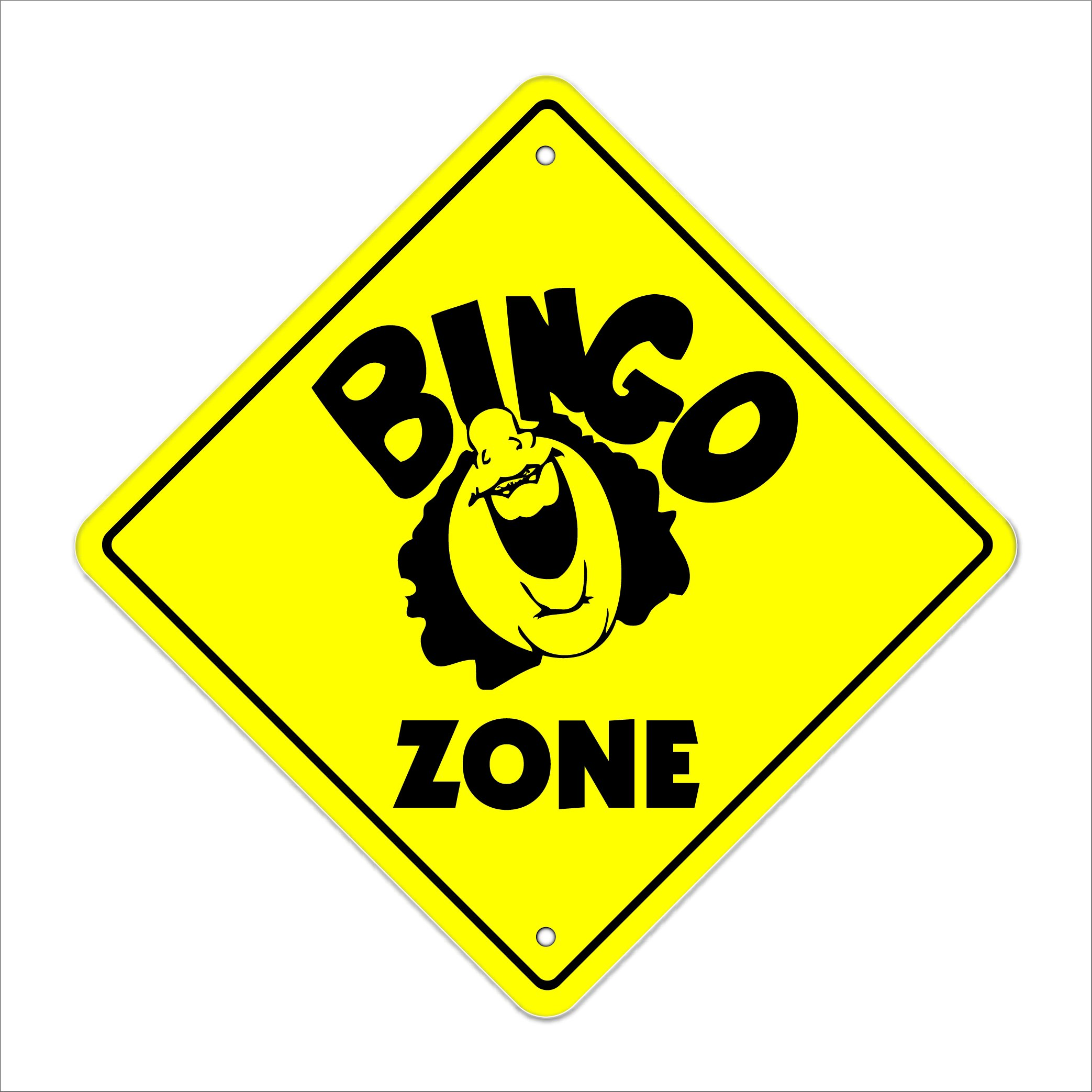 Bingo Crossing Sign Zone Xing | Indoor/Outdoor | 20'' Tall Card Chips Club Church Game time by SignMission