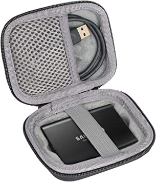 Noir MOSISO Disque Dur Coque Compatible avec Samsung T3 T5 Portable SSD Voyage Porter Coque 250GB 500GB 1TB 2TB SSD USB 3.1 Externe Solide Etat Disques EVA Rigide Coque Protecteur Sac avec Manipuler