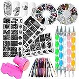 Nail Art Kit 3pc Flower Animal Nail Stamping Plate, 2 Acrylic Nail Rhinestone Decoration, 5pc Mandala Dotting Pen, 10pc…