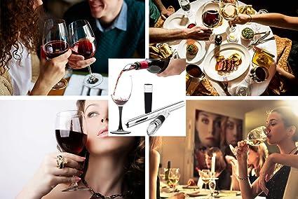 bastoncino refrigerante in acciaio inox con aeratore per vino e tappo Refrigeratore per vino con tappo sottovuoto