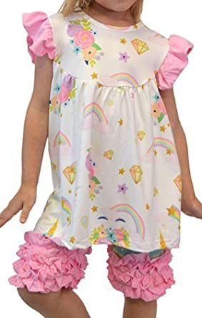 4e1e21aace Little Girls 2 Pieces Pant Set Unicorn Dress Ruffle Outfit Clothing Set Off  White 3T S