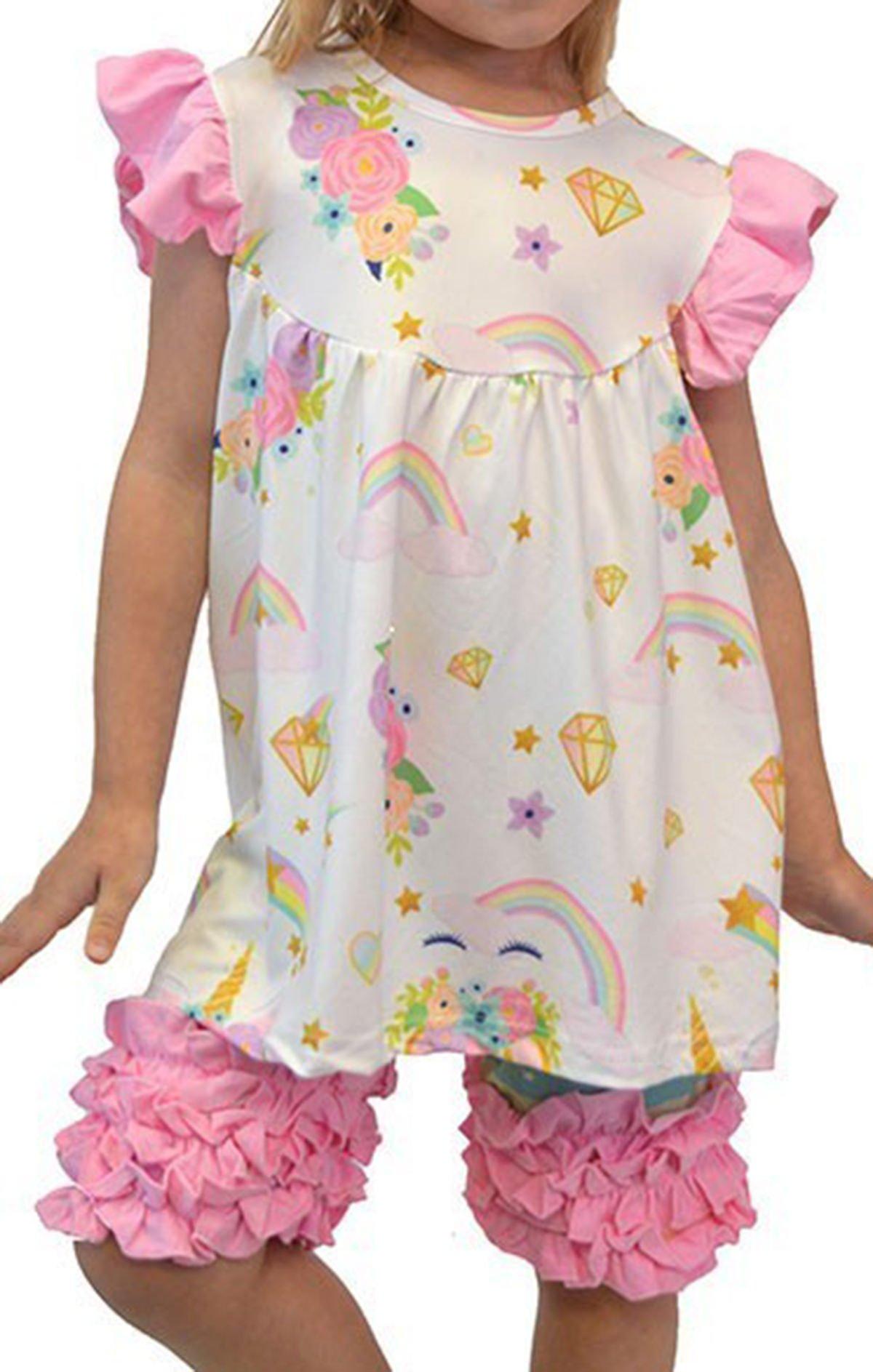 BluNight Collection Big Girls 2 Pieces Pant Set Unicorn Dress Ruffle Outfit Clothing Set Off White 7 XXL (501323)