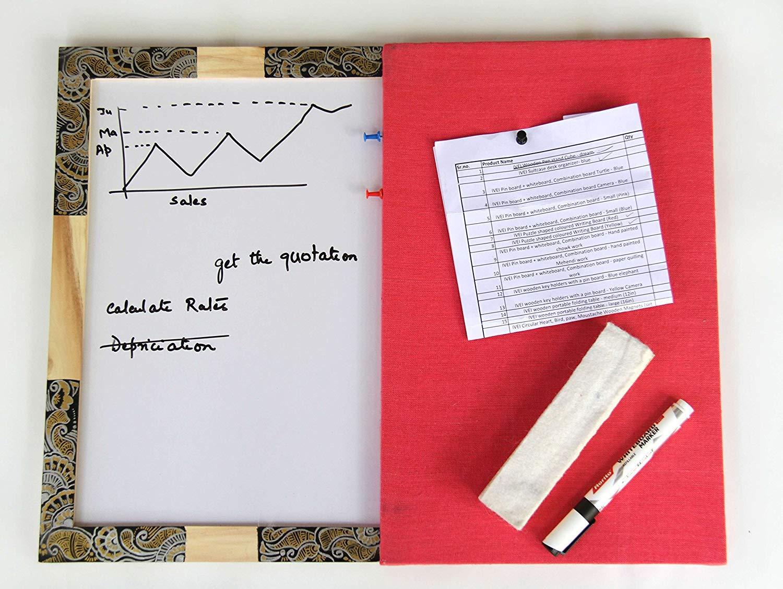 IVEI Pin Board + WhiteBoard, Combination Board - Handpainted Mehendi Work - 15in X 19in X 1in by I Value Every Idea