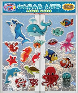 JesPlay Ocean Life Thick Printed Gel Clings – Reusable Window Clings for Kids and Adults - Incredible Gel Decals of Sea Life, Shark, Fish, Dolphin, Whale