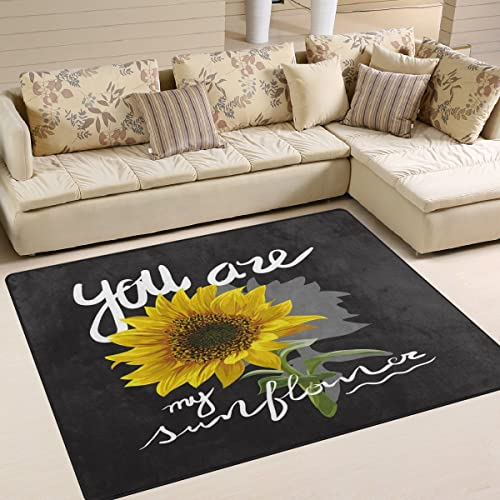 ALAZA You are My Sunflower Quotes Area Rug Rug