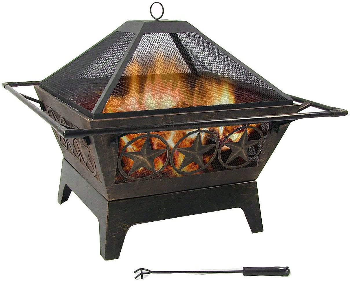 Sunnydaze Northern Galaxy Outdoor Fire Pit – 32 Inch Large Square Wood Burning Patio Backyard Firepit for Outside with Cooking BBQ Grill Grate, Spark Screen, and Fireplace Poker
